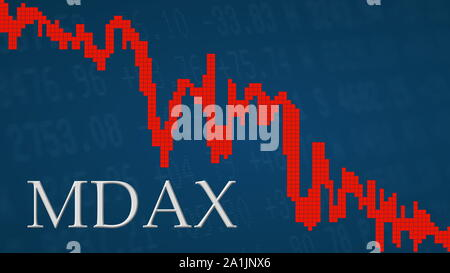 The German stock market index MDAX is falling. The red graph next to the silver MDAX title on a blue background is showing downwards and symbolizes... - Stock Photo
