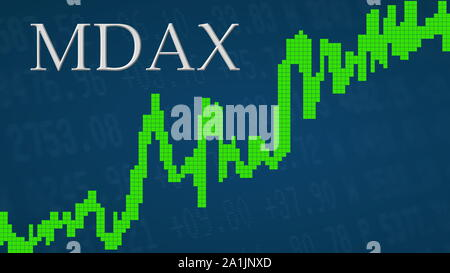 The German stock market index MDAX is going up. The green graph next to the silver MDAX title on a blue background is showing upwards and symbolizes... - Stock Photo