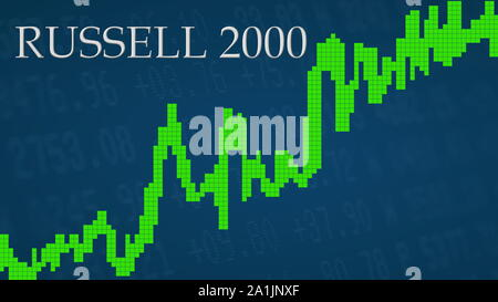 The American small-cap stock market index Russell 2000 is going up. The green graph next to the silver Russell 2000 title on a blue background shows... - Stock Photo