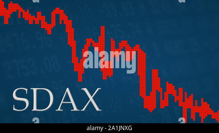 The German stock market index SDAX is falling. The red graph next to the silver SDAX title on a blue background is showing downwards and symbolizes... - Stock Photo