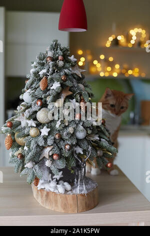 Alternative Christmas tree and small silver deer under it. Small homemade Christmas tree made of fir branches with artificial snow on wooden desk - Stock Photo