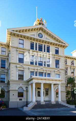 The wooden-constructed Old Government Buildings (1876), on Lambton Quay, were built to house New Zealand's civil service.  Wellington, New Zealand - Stock Photo