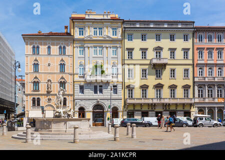 JULY 22, 2019 - TRIESTE, ITALY - Piazza Borsa, in the historic centre of Trieste - Stock Photo