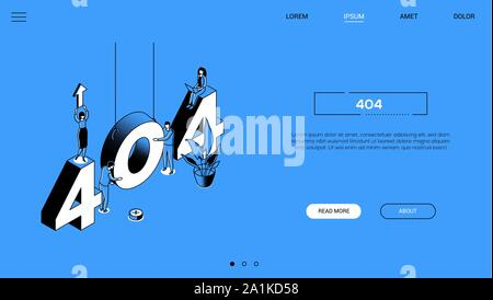 404 error - line design style isometric web banner - Stock Photo
