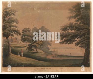 New York from Hobuck Ferry House New Jersey / Alexander Robertson delineavit; Francis Jukes sculpsit. - Stock Photo