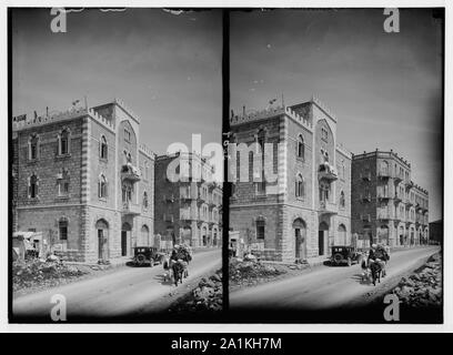 Newer Jerusalem and suburbs. Jaffa Road. Apartment houses built by Arabs - Stock Photo