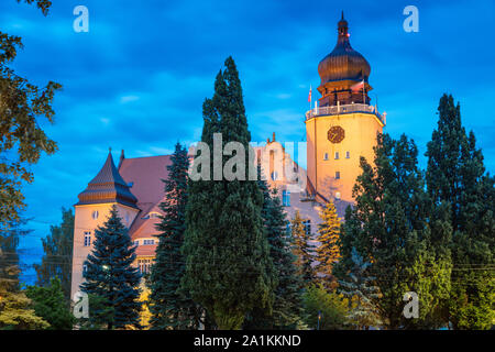 Elblag city hall at night. Elblag, Warmian-Masurian, Poland. - Stock Photo