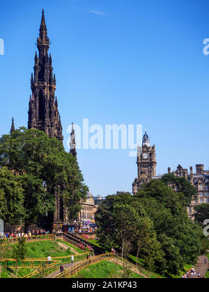 The Scott Monument and Balmoral Hotel from Princes Street Gardens Edinburgh Scotland - Stock Photo