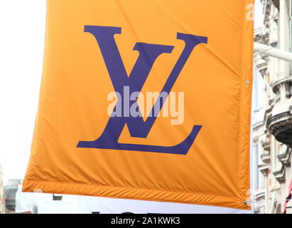 September 26, 2019, London, United Kingdom: Louis Vuitton store in the Luxury Fashion and Jewellery shopping area on London's New Bond Street. (Credit Image: © Keith Mayhew/SOPA Images via ZUMA Wire) - Stock Photo