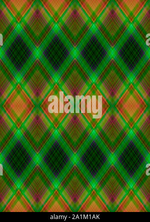 Bright seamless background in green shades with patterns of rhombuses  obtained from the intersection of magenta, orange and green stripes - Stock Photo