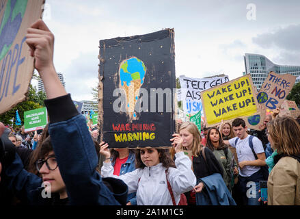 Climate strike for demanding more action on the climate crisis in The Hague, Netherlands. - Stock Photo