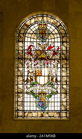London, England, UK - September 21, 2019: stain glass window crest of The Royal Society, London - Stock Photo