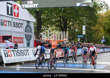 Harrogate, UK. 27th September 2019. Nils Eekhoff  of the Netherlands is disqualified for drafting 2019 UCI Road World Championships Mens U23 Road Race. September 27, 2019 Credit Dan-Cooke/Alamy Live News - Stock Photo