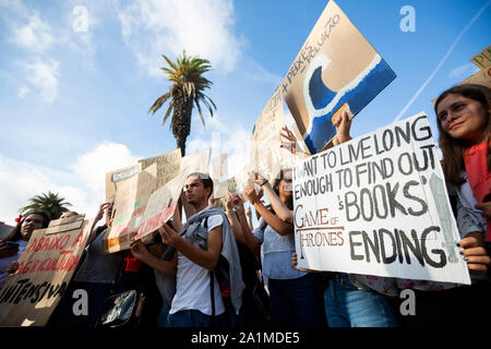 27th September, 2019. Thousands of students seen holding placards during the Global Climate Strike Students against the World climate policies in the streets of Porto, Portugal. - Stock Photo