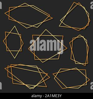 Abstract elements set of geometrical polyhedron for wedding invitation, templates, decorative patterns. Vector illustration - Stock Photo