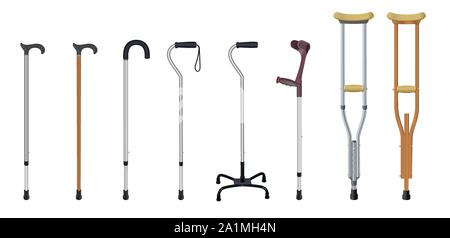Set of walking sticks and crutches. Telescopic metal canes, wooden cane, cane with additional support, elbow crutch, telescopic crutch, wooden crutch - Stock Photo