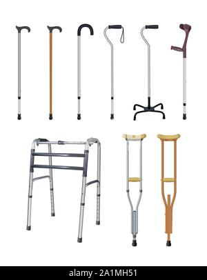 Canes, crutches and walkers. Set of special auxiliary means of transportation for people with locomotive apparatus diseases. Realistic objects on - Stock Photo