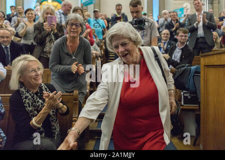 Westminster, London, UK. 27th Sept, 2019. Nigel Farage and speakers from the London region take to the stage for the Brexit Party tour. At the same time, various remain groups are outside the venue, Emmanuel Centre in Marsham Street. Penelope Barritt/Alamy Live News - Stock Photo