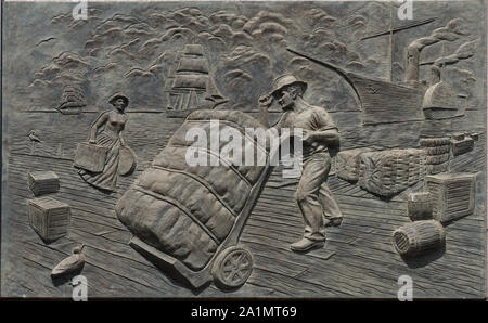 One of six 11-by-16-foot concrete panels portraying a moment in Texas history on the wall of the Bob Bullock State History Museum in Austin, Texas - Stock Photo