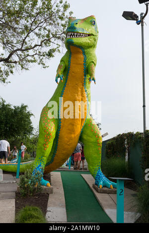 One of the outsized obstacles at the Peter Pan miniature-golf course in Austin, Texas - Stock Photo