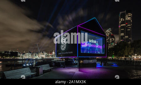 London, England, September 27, 2019. Three UK brings 5G holographic ad to London's South Bank