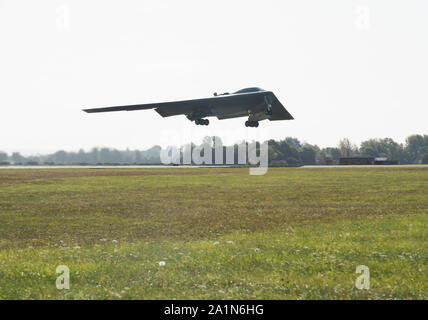 A B-2 Spirit takes off on Sept. 19, 2019, at Royal Air Force Fairford, England. Three B-2's deployed to RAF Fairford as part of Bomber Task Force Europe, which challenged the stealth aircraft, as well as Airmen and support equipment from Whiteman Air Force Base, Missouri, to confuct integration and flying operations at forward locations across Europe. (U.S. Air Force photo by Staff Sgt. Kayla White) - Stock Photo