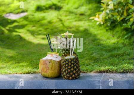 Fruit smoothies from pineapple and coconut on a background of green grass. Rest in tropics concept - Stock Photo