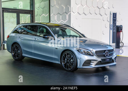 FRANKFURT, GERMANY - SEPT 2019: silver gray MERCEDES-BENZ C 300 DE electric hybrid estate wagon combi family car, IAA International Motor Show Auto Ex - Stock Photo