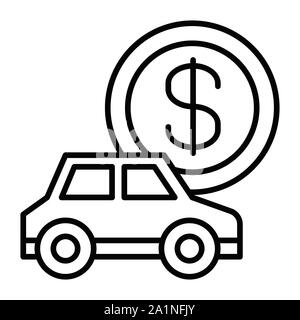 Car Icon, Vector Illustration, Business Outline - Stock Photo