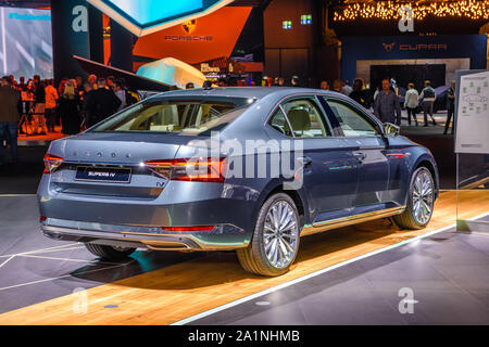 FRANKFURT, GERMANY - SEPT 2019: silver gray SKODA SUPERB iV B8 TYP 3V sedan car, IAA International Motor Show Auto Exhibtion. - Stock Photo