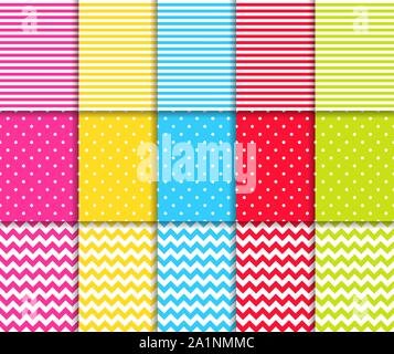 Colorful dotted and striped seamless patterns vector backgrounds - Stock Photo