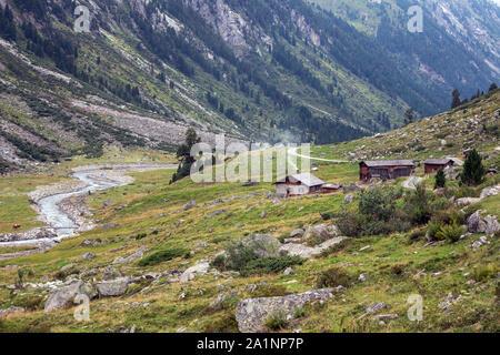Krimmler Achental valley. Wooden alm. Hohe Tauern National Park. Austrian Alps. - Stock Photo
