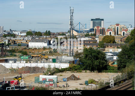 Brown Field development in South West London with Stamford Bridge Football Ground in the distance - Stock Photo