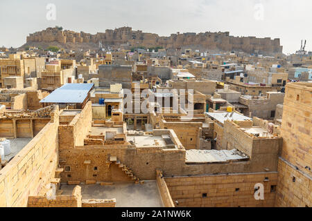 View Jaisalmer city and fort from Patwon ki Haveli in Jaisalmer. Rajasthan. india - Stock Photo