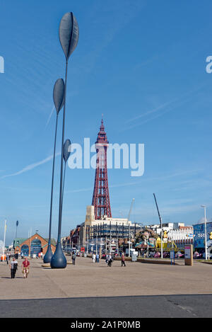 View of Blackpool Tower - Blackpool, Lancashire, North West England - United Kingdom. 19th of September 2019 - Stock Photo