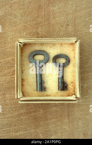 Small cardboard tray containing two antique keys - Stock Photo