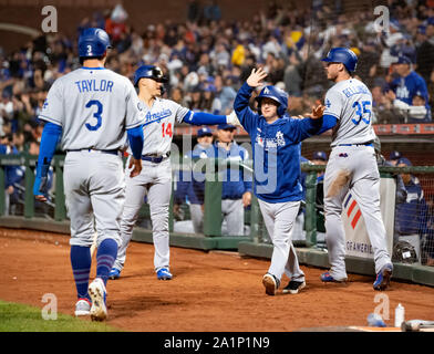 San Francisco, California, USA. 27th Sep, 2019. The Los Angeles Dodgers celebrate scoring another run, during a MLB game between the Los Angeles Dodgers and the San Francisco Giants at Oracle Park in San Francisco, California. Valerie Shoaps/CSM/Alamy Live News - Stock Photo