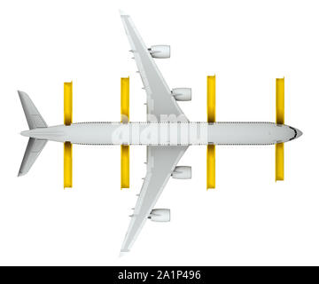 airplane top view with released saving ladders isolated on white. 3d rendering - Stock Photo