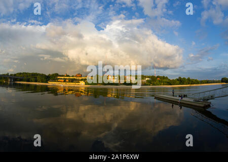 Lake in forest. Shooted with fisheye lens - Stock Photo