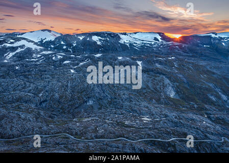 08/09-17, Geiranger, Norway. View from Dalsnibba mountain, RV63 in the bottom part of image. - Stock Photo