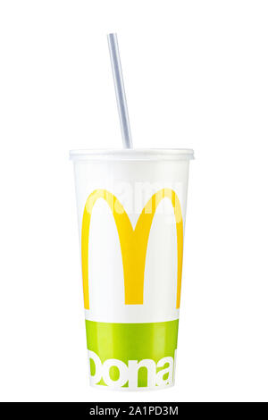 Kyiv , Ukraine - September 5, 2018: A glass of McDonald's coctail. With clipping path. - Stock Photo