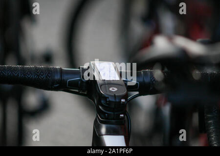 Harrogate, UK. 28th Sep, 2019. Race notes on the bike of Marianne Vos of the Netherlands at the 2019 UCI Road World Championships Womens Elite Road Race. September 28, 2019 Credit Dan-Cooke/Alamy Live News - Stock Photo