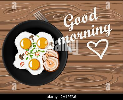 Fried eggs and bacon top view on wooden table with good morning lettering. Home made breakfast with love - Stock Photo