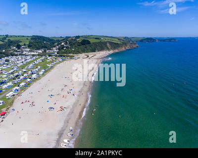 Aerial view of Pentewan Sands beach in Cornwall - Stock Photo