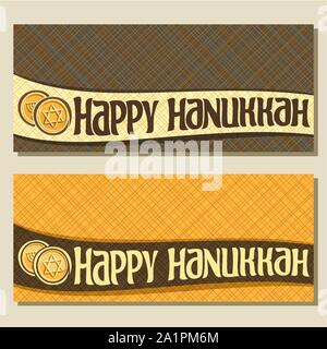 Vector banners for Hanukkah holiday with copy space, greeting cards with golden coins, original decorative text happy hanukkah on abstract geometric b - Stock Photo