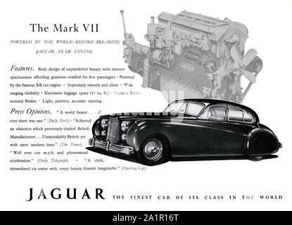 Advert for the Jaguar Mark VII (7 or seven) luxury motor car, 1951. The Jaguar Mk VII was a large, four-door car produced by Jaguar Cars of Coventry from 1951 to 1956. In its original 1950 form the Mark VII could exceed 100 mph. - Stock Photo