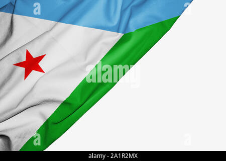 Dijibouti flag of fabric with copyspace for your text on white background - Stock Photo