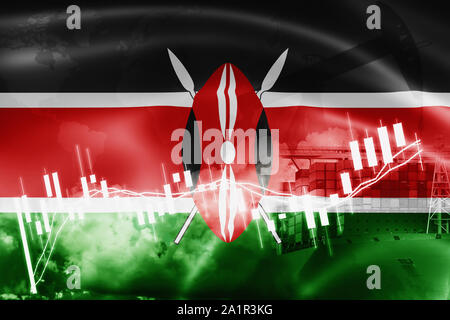 Kenya flag, stock market, exchange economy and Trade, oil production, container ship in export and import business and logistics. - Stock Photo
