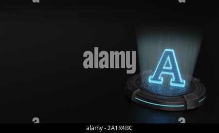 blue stripes digital laser 3d hologram symbol of A character render on old metal sci-fi pad background