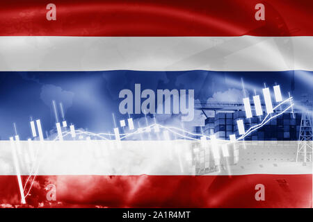 Thailand flag, stock market, exchange economy and Trade, oil production, container ship in export and import business and logistics. - Stock Photo